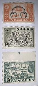 TRAVELSTAMPS: 1953-1958 NIGERIA STAMPS  Scott # 80-82 MNH Mint Og Never Hinged