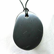 Elite Noble Polished Shungite Pendant~Fullerenes~Genuine Russian Mineral~Detox