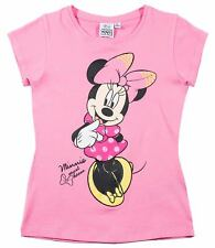 Niñas Camiseta de manga corta top Minnie Mouse Ratón Blanco Rosa 104 116 128 134