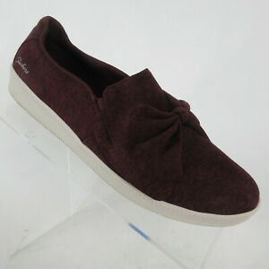 Skechers Madison Avenue My Town Burgundy Bow Shoes Sneakers Womens Size 8.5