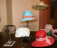 Vtg Womens Hat LOT Millinery 6 Pcs Floppy Brimmed Blue Red Pink White Fascinator