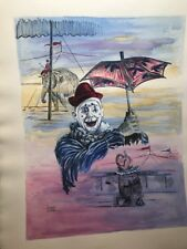 George Crionas Clown Circus Original Mixed Watercolor Painting LISTED ARTist art