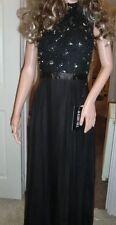 BNWT Ladies Sherri Hill Black Floor Length Jewel & Lace Floaty Dress-UK 10,USA 6