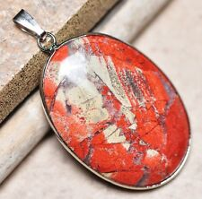 "Bloodstone Jasper Sea Sediment Quartz Natural Gemstone 1.75"" Silver Pendant #09"