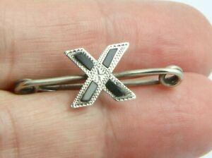 Vintage Art Deco c1930 sterling silver Scottish agate saltire cross brooch pin