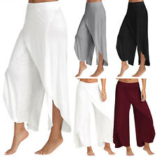 Women Palazzo BOHO Wide Leg Pants Chiffon Skirt Flared Yoga Trousers Plus Size