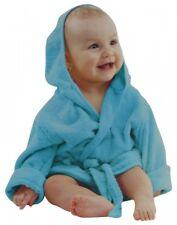 Baby Bademantel mit Kapuze Gürtel und Knopf türkis weiches Frottee