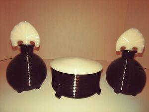Vtg 3 piece Art Deco Vanity Set 2 Perfume Bottles Powder Box Black White Ribbed