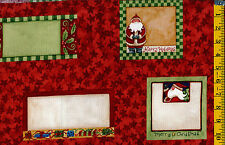 Christmas Quilt Labels 8 per panel Red by P&B