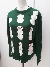 Cedarwood State Mens Size L Green Snowman Christmas Jumper Knit Xmas Sweater