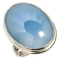 BLUE OPAL NATURAL GEMSTONE RING 925 STERLING SILVER HANDMADE JEWELRY RING 7.75