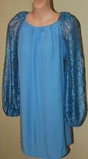 Womens Blue Lace Sleeve Shift Dress BNWT - Forever New - Size 6