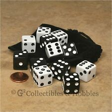 NEW Set of 12 Black & White Dice + Bag RPG D&D Bunco Game D6 16mm 5/8 inch
