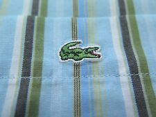 Lacoste Men's Long Sleeve Cotton Aqua Striped Casual Shirt Euro 42 Large France