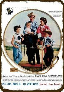 1958 WRANGLER BLUE BELL Vintage Look REPLICA METAL SIGN - COWBOY JIM SHOULDERS