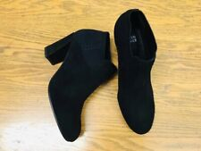 EILEEN FISHER BLACK SUEDE FABRIC PULL ON HEEL ANKLE BOOTIES NWOB SIZE 7.5