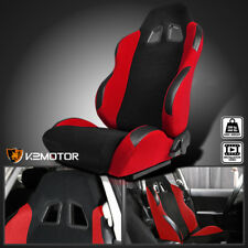 [Driver Side]Black/Red Cloth PVC Leather Reclinable Sports Racing Seat w/Sliders