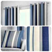 Fusion WHITWORTH STRIPE Blue 100% Cotton Ready Made Eyelet Curtains & Cushions