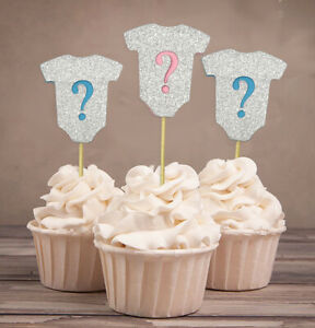 Darling Souvenir| Gender Reveal Glitter Cupcake Toppers| Boy Or-1ow