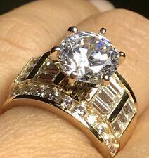 GOLD Ring 14k YELLOW 5.5 Carat Ct Manmade Diamond engagement Round 5 4 6