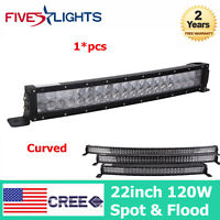 4D Curved 120W 22inch LED Work Light Bar Spot Flood Combo Lamp Offroad UTE Ford
