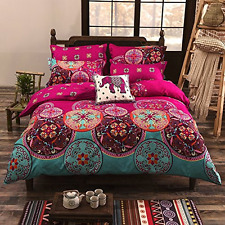 Soft Bedding Duvet Cover Set Bohemian Oriental Boho Chic Mandala Pink King Size