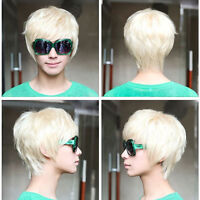 Hot Mens Vogue Short Straight Platinum Blonde Cosplay Party Club Full Wig Hair