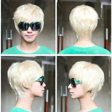 Mens Vogue Short Straight Platinum Blonde Cosplay Party Club Full Wig Hair