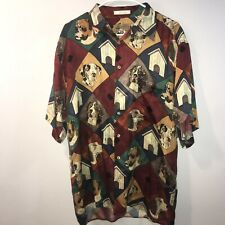 Vintage 90s Mens Medium 100% Silk Short Sleeve Camp Shirt Dog Breed Print EUC!