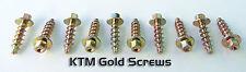 KTM fit GOLD SCREW 10PC SX EX EXC MX MXC PLASTICS 85 150 125 250 300 350 450 520