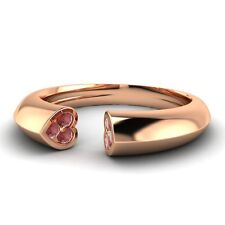 0.11 Cts Natural Garnet Heart Wedding Band Ring in 10k Rose Gold Womens Jewelry
