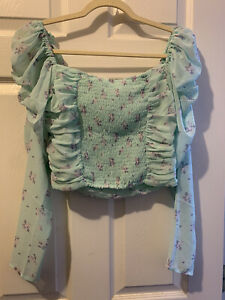 H&M Blue Mint Floral Crop Top / Small / Puff Long Sleeve