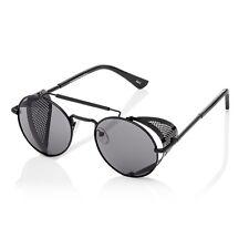 Black Steampunk Glasses Cyber Round Retro Goggles Vintage Blinder Sunglasses UK