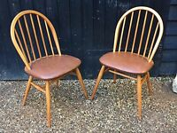 Pair Of Vintage 1950's Blonde Ercol Windsor Kitchen Chairs / Dining Chairs