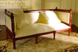 Dollhouse Fabric Seating & Pillows 1/12 Furniture Elegant White High Quality