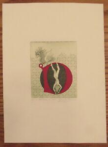 Medieval manuscript illumination inspired signed print Letter N dragon/woman