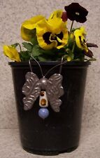 Flower Pot Hugger Metal and Ceramic Butterfly #1 NEW