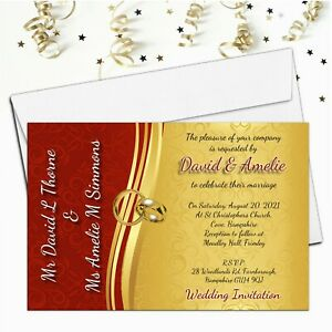 10 Personalised Red Gold Wedding Invitations / Evening Invites & Envelopes N66