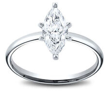 14K Gold 0.61 ct Marquise Cut Diamond Solitaire Engagement Ring F SI2