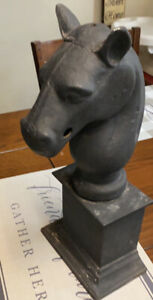 Vintage Cast Iron Horse Head Hitching Post Topper
