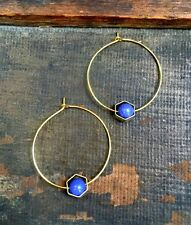 Anthropologie Purple Bead Brass Hexagon Gold Plated Hoop Minimal Boho Earrings