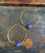Anthropologie Purple Bead Brass Hexagon Gold Plated Hoop Minimal Boho Earrings
