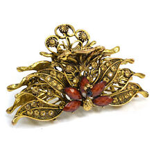 Gold Peacock Design Hair Clip with Brown Stones