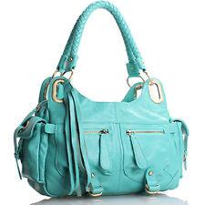 Aqua Blue Italian Leather Handbag, Purse Hobo Bag, Satchel, Tote, Clutch