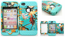 Hybrid Silicone Cover Case Skin IPHONE 4 4S Teal Camo Mossy Leaf Branch/B Teal
