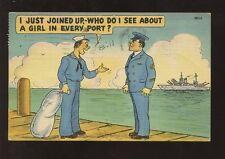 USA 1943 PPC NAVY COMIC...TROY NY