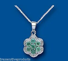 Emerald Pendant Diamond Cluster Emerald and Diamond Necklace Sterling Silver