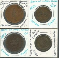 Lot 4 Bank of Montreal-Upper Canada-Lower Habitant Half One Penny Coin Tokens
