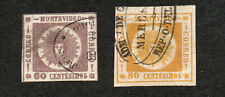 Uruguay - Sc# 13 & 14 Used (thick numerals)     -       Lot 0520138