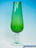 "RETRO VINTAGE TWISTED GREEN EMPOLI ART GLASS GOBLET VASE 11"" Inch HIGH"